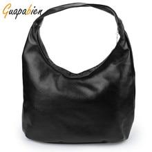 Guapabien Women Shoulder Bags Black PU Leather Bags Solid Hobos Designer Handbags Ladies Messenger Bag For Women Bolso Bags