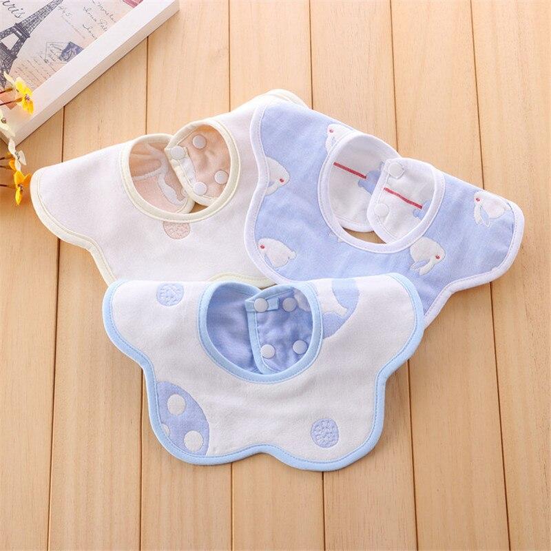 Baby bibs Cotton gauze Squirrel pocket Round Baby saliva towel Newborn Thicken Bib 360 Degree Rotation