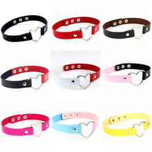 Fashion PU Leather Choker Necklace Women Heart Punk Statement Necklaces Jewelry Collier femme