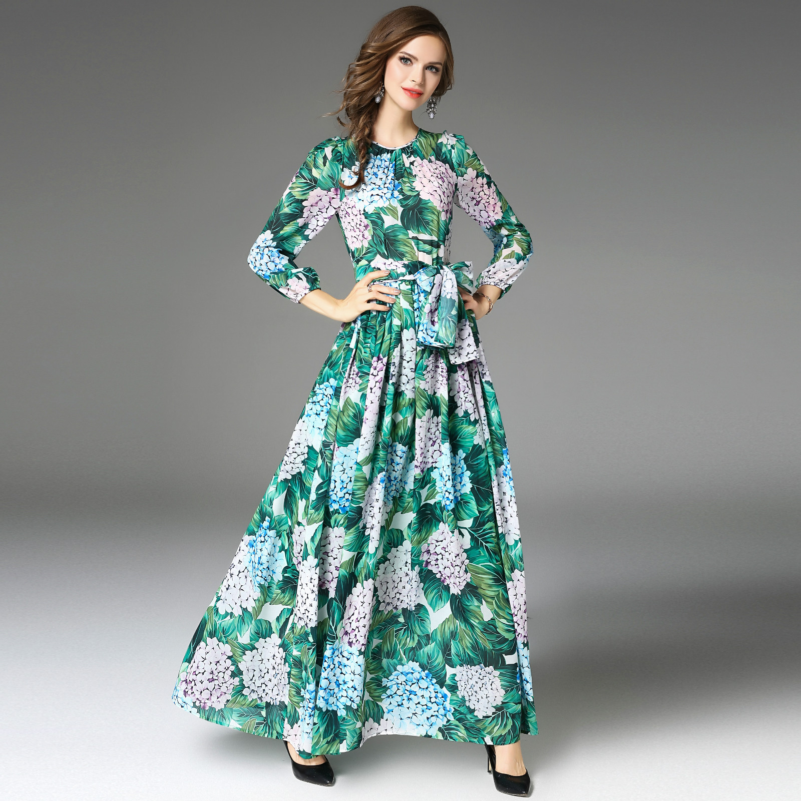 Böhmische Grüne Druck Lange Maxi Kleid Vestido Longo 2018 Herbst ...