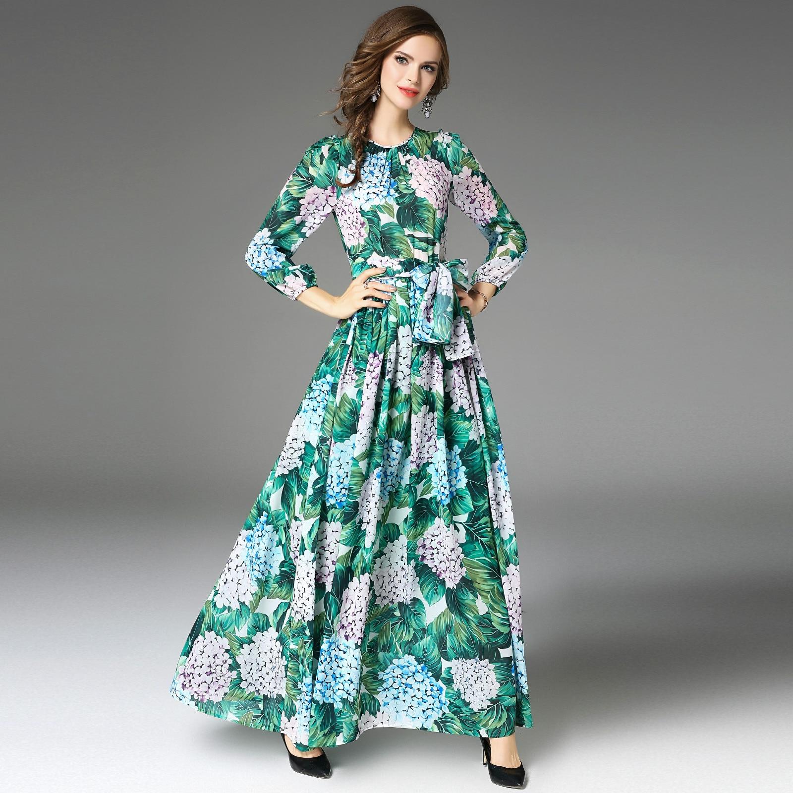 Vestido verde floral longo
