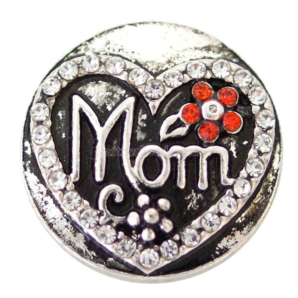 7a6ffae40e1 Cristal mamá 20mm metal Snap Botón de joyería para hombre pulsera y  brazalete mujeres joyería KB6883