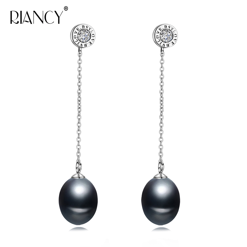 2019 New 100% genuine Natural long earrings Fashion black pearl jewelry for Women 925 sterling silver wedding gift
