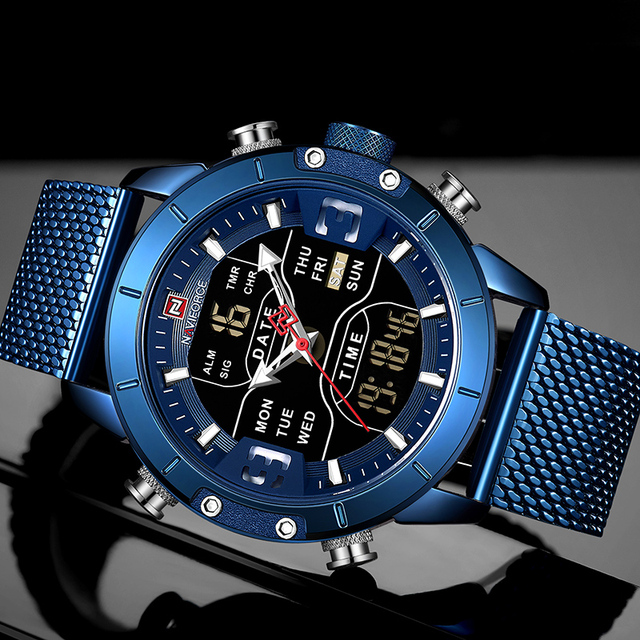 NAVIFORCE Men's Dual Display Mesh Belt Military Waterproof LED Clock Sports Quartz Watches 1