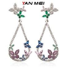 YAN MEI Butterfly Earrings Silver Plated Bijoux Female Cubic Zirconia Long Waterdrop Stud Earrings Women's Accessories GLE6067