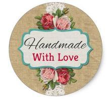 1.5 pouces fait à la main avec amour Vintage Roses produit emballage classique autocollant rond