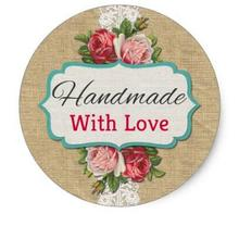 1.5inch Handmade With Love Vintage Roses Product Packaging Classic Round Sticker