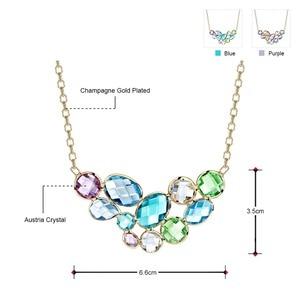 Image 3 - Neoglory collar largo con colgante de cristal austríaco para mujer, diseño geométrico colorido, Color dorado champán, regalo de marca