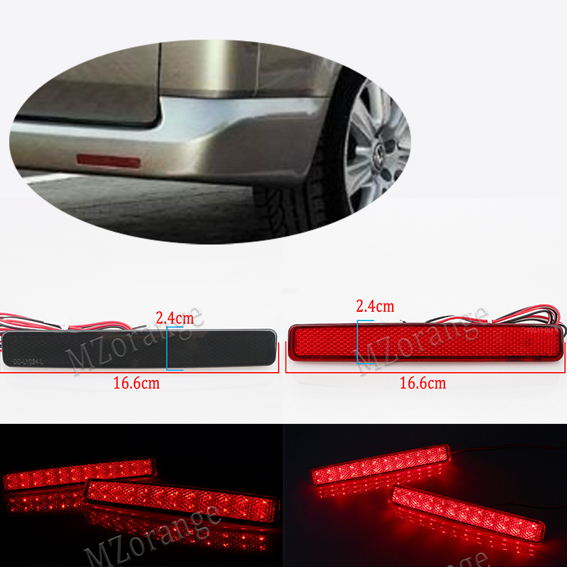 2pcs for VW T5 Transporter / Caravelle / Multivan 2003-11 Red black Rear Bumper Reflector LED Tail Stop Brake Light (CA243) Car cyan soil bay car styling 2pcs led rear bumper reflector brake stop light for mazda6 atenza mazda2 dy for mazda3 axela ca240