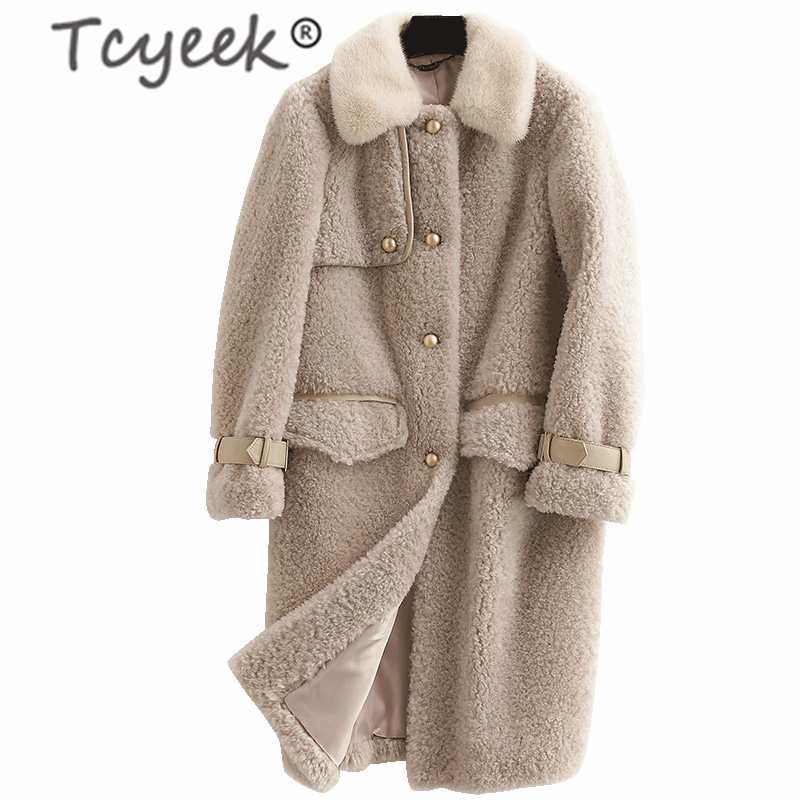 Tcyeek Real Fur Coat Female Elegant Winter Sheep Shearing Jacket + Mink Collar Korean Fashion Ladies Warm Long Coat Hiver F38755