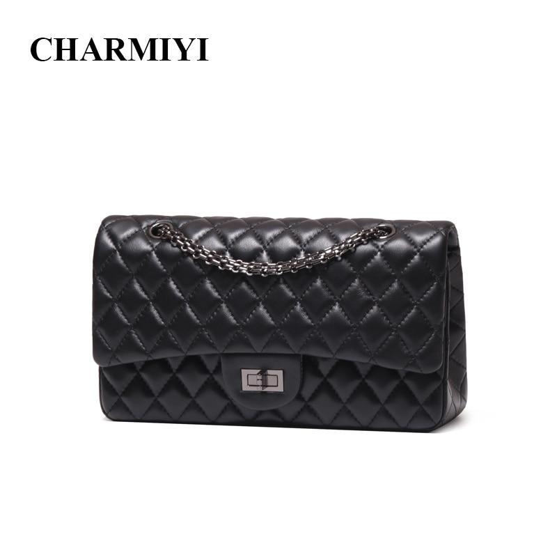 212cde211339 CHARMIYI Роскошные Высокое качество из натуральной кожи Для женщин сумка  известный бренд цепи Для женщин сумки через плечо мягкой леди Кроссбо..