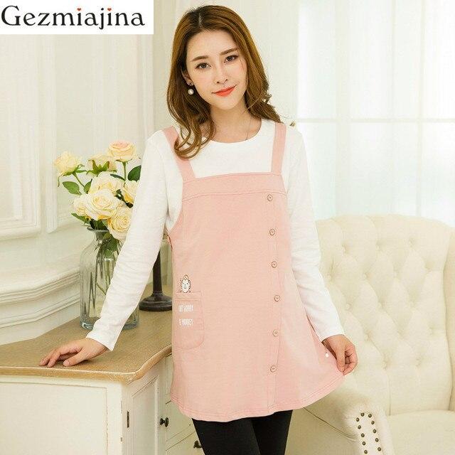 8eaf8f12eeef5 Spring autumn Maternity Dress Fake Two Piece Long sleeve Nursing T-shirt  Dress Breastfeeding Tops PregnancyT-shirt Women Tees
