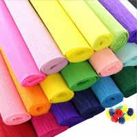 Lote de 5 rollos de papel crepé de colores de 250x50cm, envoltura para decoración de regalo de flores DIY, papel hecho a mano de crepé, papel arrugado
