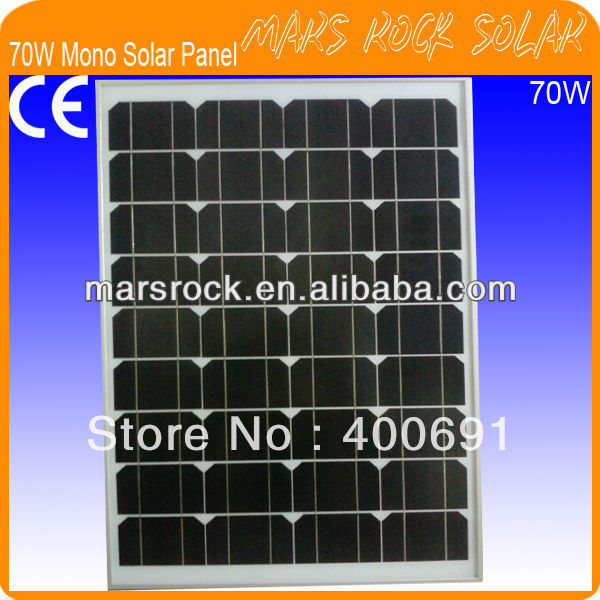 70W 18V Monocrystalline Silicon Solar Panel with Aluminum Alloy Frame, Nice Appearance, Reliable Parameter, Long lifecycle