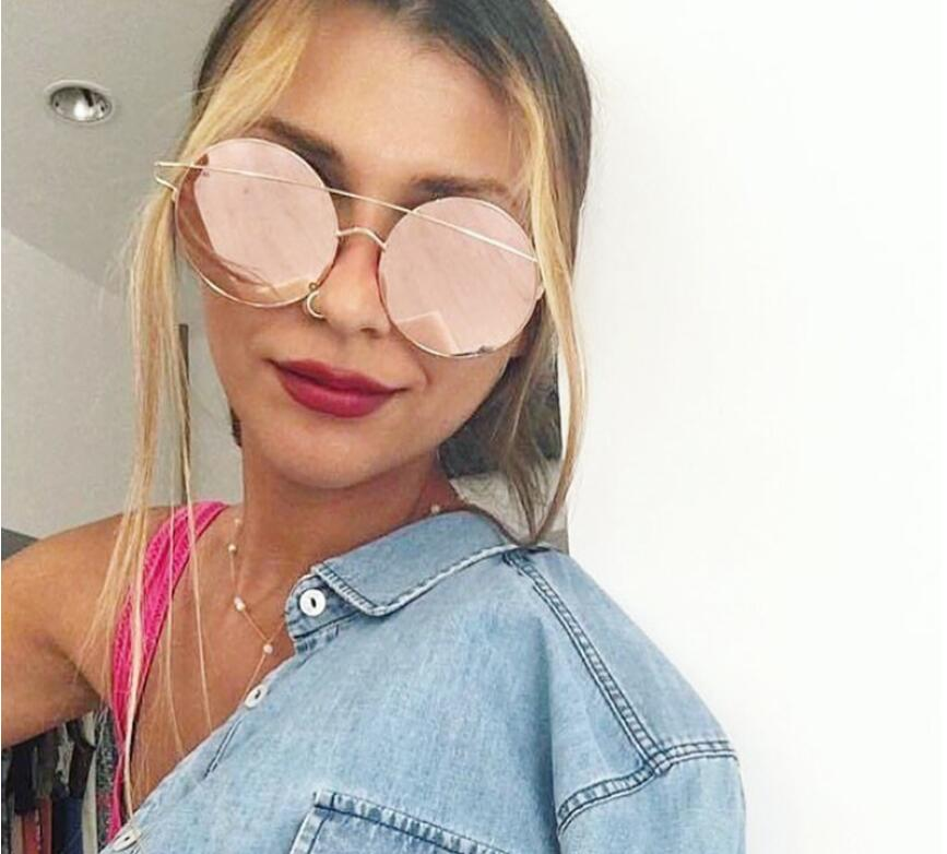 Round Female Sunglasses Women 2017 Rose Gold Driving Cateye Glasses Retro Sexy Occhiali  ...