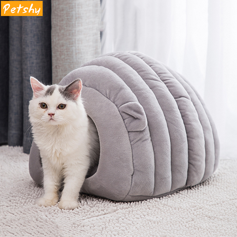 Petshy New Warm Cat Cave House Foldable Puppy Kitten Sleeping Bag Comfortable Soft Small Dog Kennel Bed Winter Pet Nest Cushion