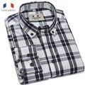 Langmeng 100% camisa xadrez de algodão homens primavera outono marca camisas casual slim fit camisa de vestido dos homens camisa masculina de manga comprida