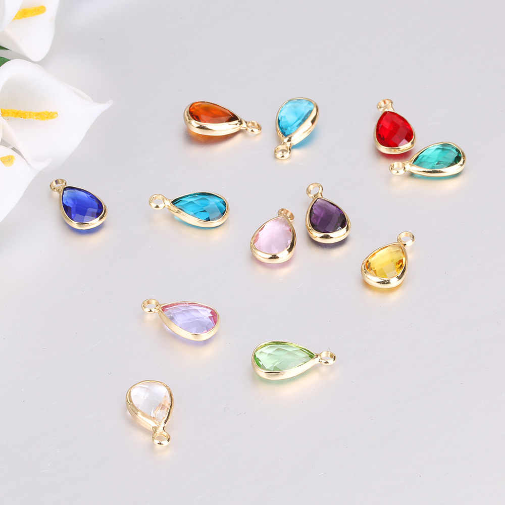 2fd13a3d76 Wholesale price 12pcs/lot Colorful Crystal Birthstone Charms Teardrop Glass  Charm Pendant For Jewelry Making Diy Accessories