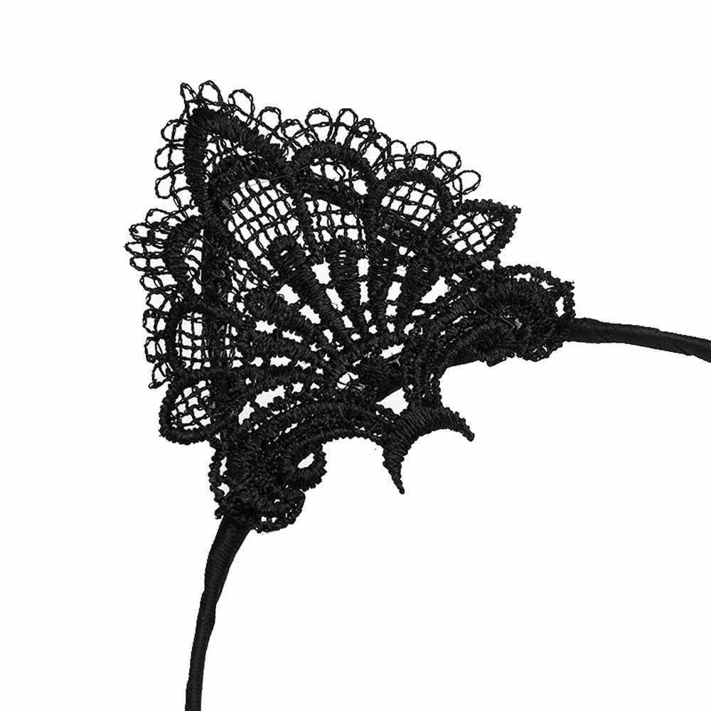 เสื้อผ้าอุปกรณ์เสริมลูกไม้ผู้หญิงเซ็กซี่แถบคาดศีรษะ 1PC หญิงสีดำหูแมวน่ารักหัวเครื่องประดับ 20cm Holiday โพลีเอสเตอร์แถบคาดศีรษะ