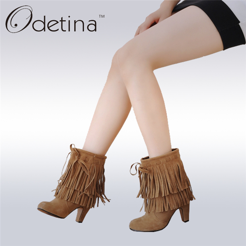 Odetina 2017 New Spring Autumn Faux Suede Fringe Ankle Boots Tassels Slip On High Heel Booties Women Pointed Toe Big Size 34-47 odetina fashion women pointed toe rivets loafers 2017 spring