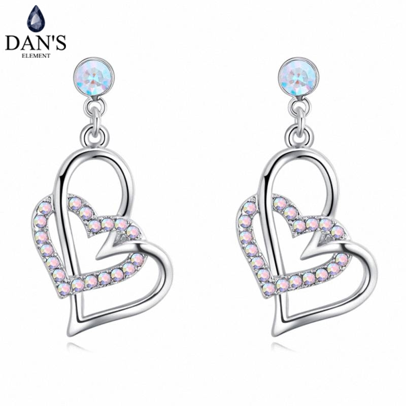 DANS 5 Colors Real Austrian crystals Stud earrings for women Earrings s New Sale Hot Round 129553