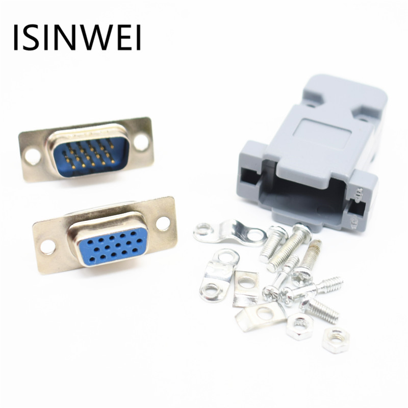 DB15 3Rows Parallel VGA Port HDB9 15 Pin D Sub Male Female Solder Connector Plastic Shell Cover 10 pcs d sub vga db 15 pin male solder type connector socket 2 rows db15f male