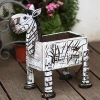 POCKETGARDEN Creative zebra Design Flowerpot Resin Wood Flower Pots Micro Landscape Ornaments Planter for Home Indoor