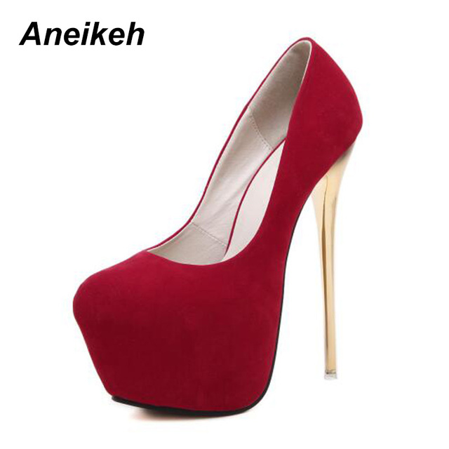 Aneikeh Sexy Pumps Wedding Women Fetish Shoes Concise Woman Pumps Latform Very High Heel Stripper Flock Pumps 16 cm Size 44 45