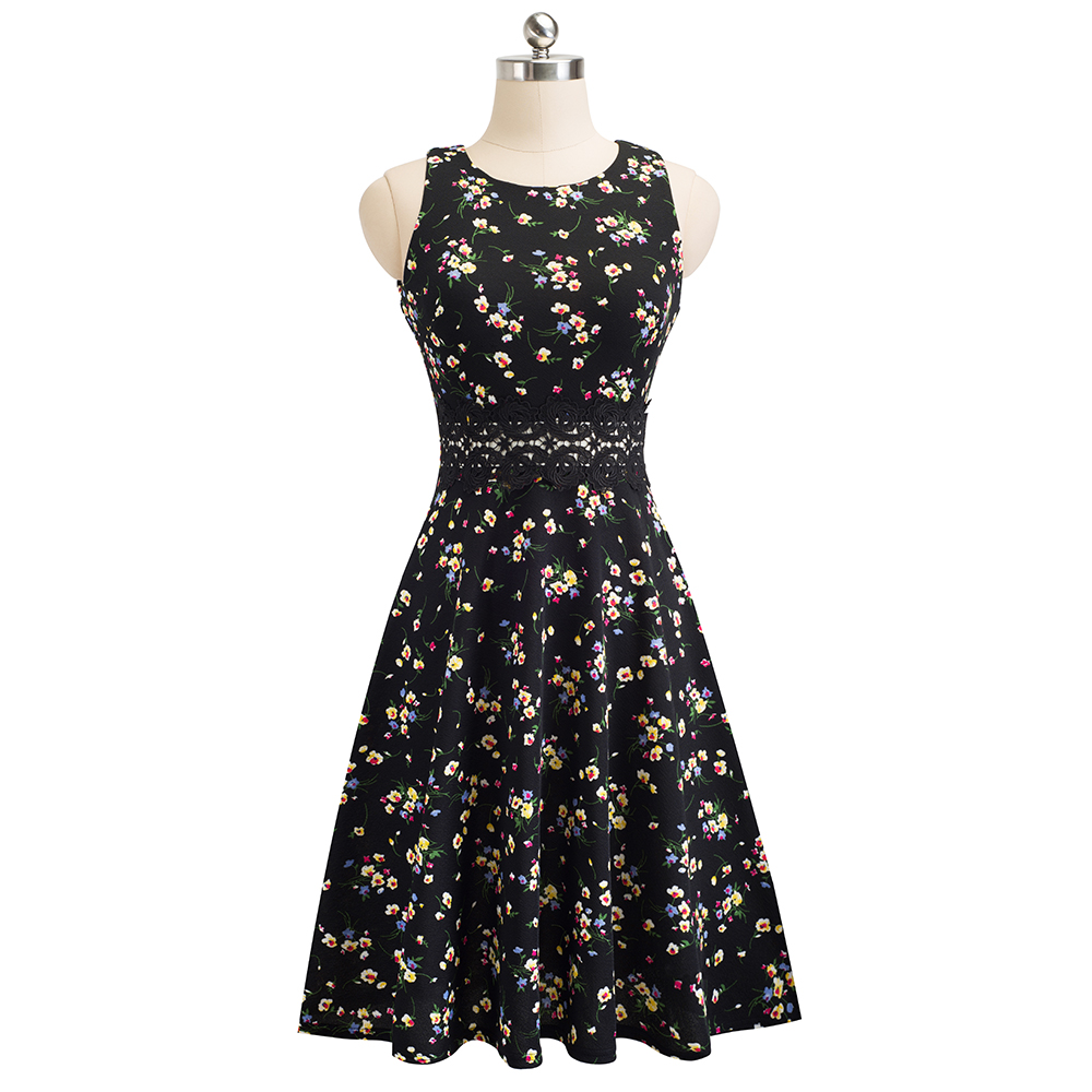 Nice-forever Vintage Elegant Embroidery Floral Lace Patchwork vestidos A-Line Pinup Business Women Party Flare Swing Dress A079 79