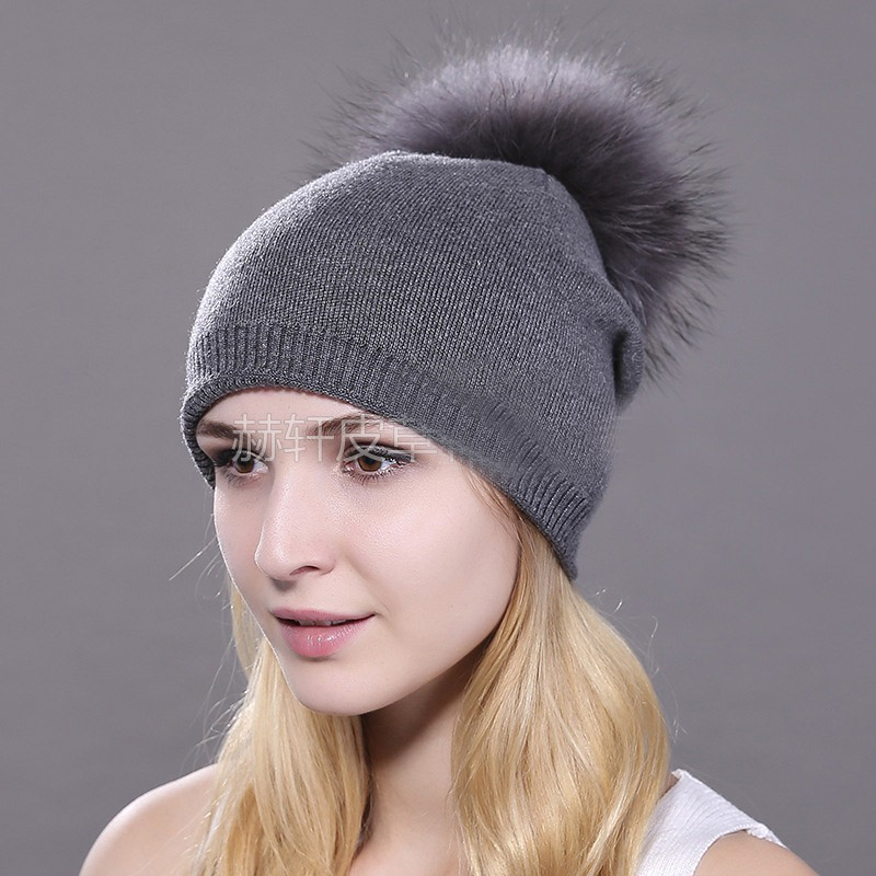 HEE GRAND/женская шапка, зимние вязаные шапки унисекс из шерсти енота, шапки с перьями для мужчин, меховая шапка куполообразная, Прямая поставка PMT089 - Цвет: Color-1