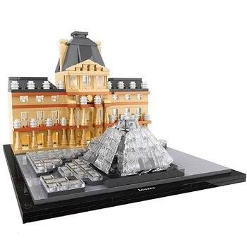 Hsanhe Architecture New York Louvre World Famous Building Blocks Sets Bricks City Model Classic Kids Toys For Children 21035 lego