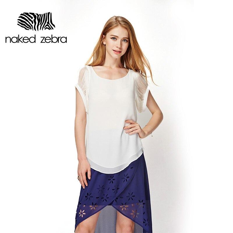 Naked zebra señora nueva gasa blusa superior ropa de trabajo elegante simple bor