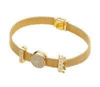 925 Sterling Silver Bead Charm Gold Color Shine Reflexions Dazzling Elegance Clip Beads Pandora Bracelet Diy Jewelry