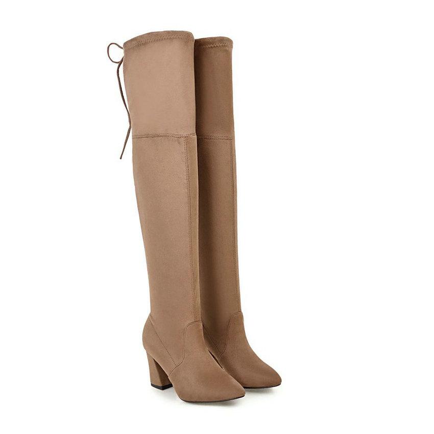 qutaa/коллекция 2018 новые из flock женские ботфорты выше колена на рис Snake женские туфли на высоком парень на змею зимние сапоги теплые размеры 34-43