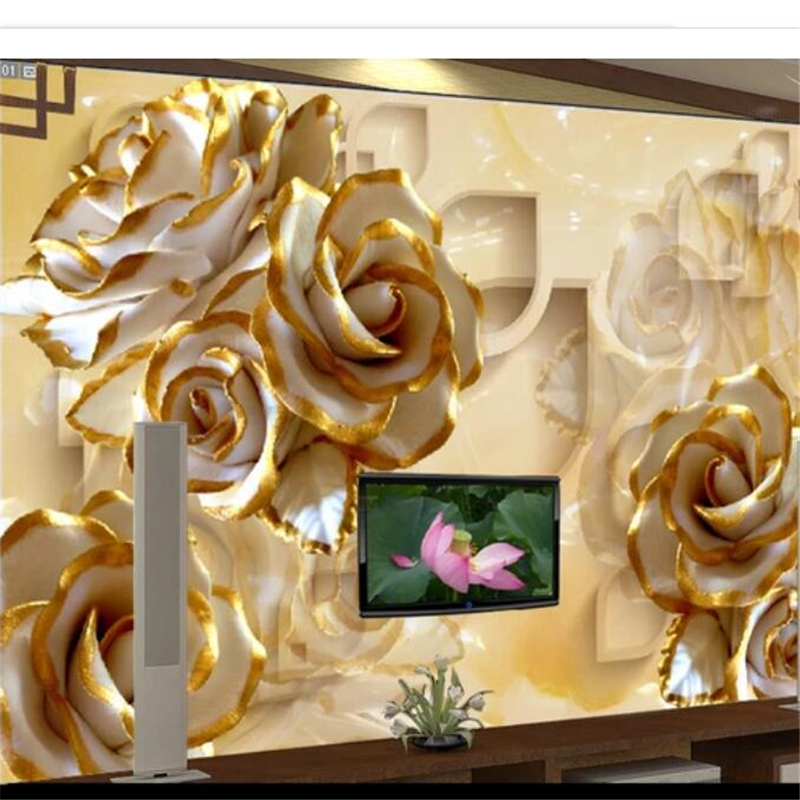 beibehang Custom wallpaper 3D Photo mural Embossed Rose Jade shading Living room backdrop 8d Wallpaper Bedroom Papel de parede book knowledge power channel creative 3d large mural wallpaper 3d bedroom living room tv backdrop painting wallpaper