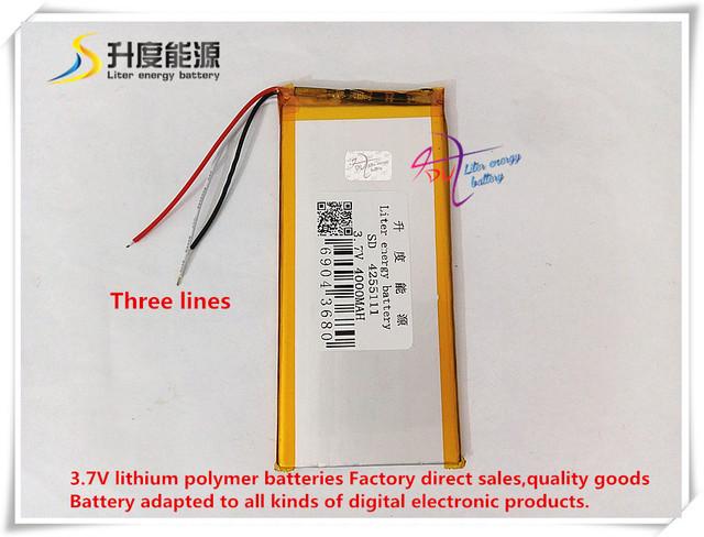 3.7 v 4000 mah 4255111 bateria de polímero de iões de lítio/bateria de iões de lítio para tablet pc banco de potência cubo pipo onda