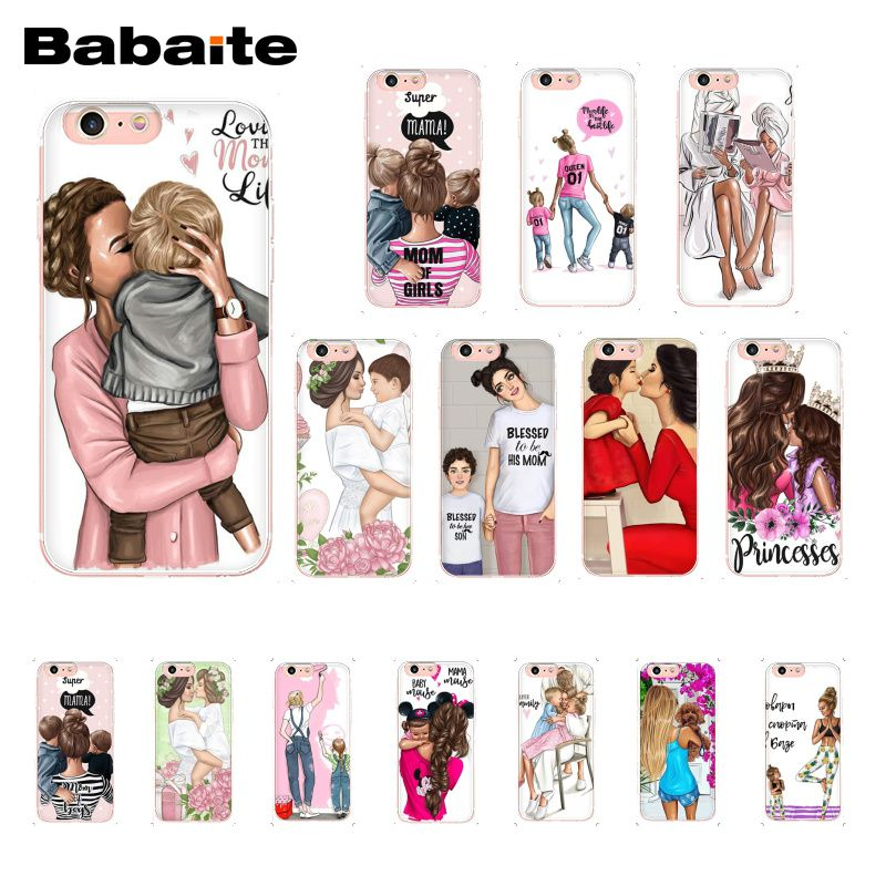 Babaite Fashion Black Brown Hair Baby Mom Girl Queen Phone Case  for iPhone 8 7 6 6S Plus X XS MAX 5 5S SE XR 10 Cases