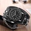 Copper Skull Leather Watch Men Sports Quartz Wrist Watch 4