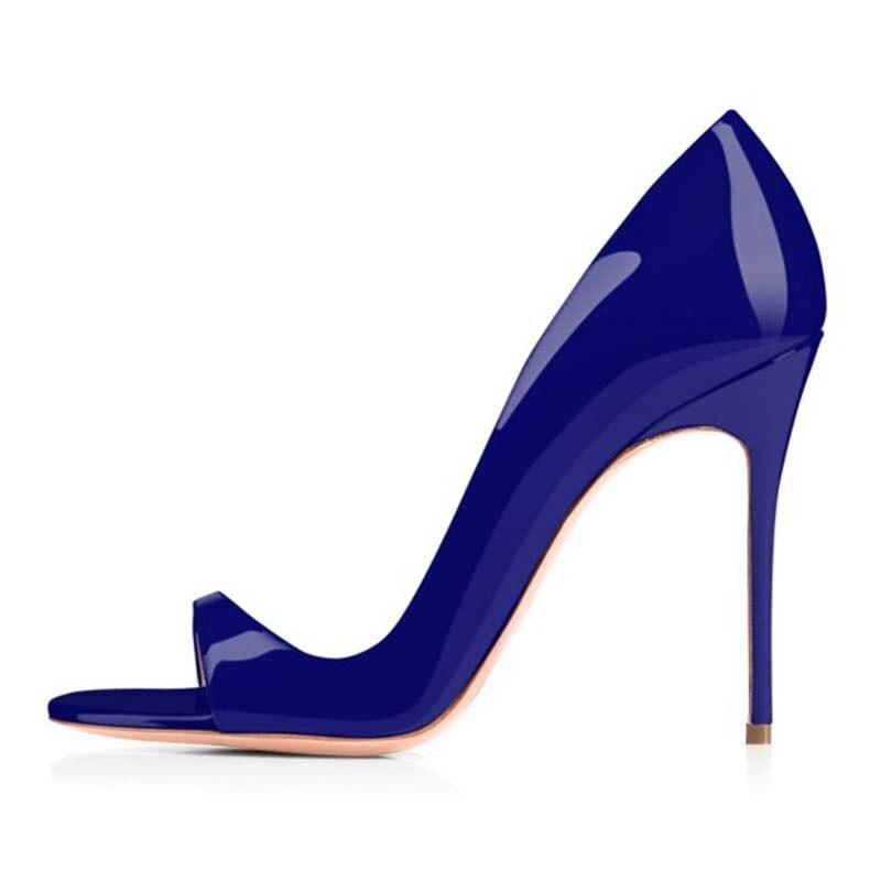 Automne Bureau Talons Incomparable À Ouvert Printemps D'orsay Verni Indigo Mode Bleu Noble Pompes Bout Généreux Fsj01 Fsj Attrayant Cuir En F65qxq4wn7