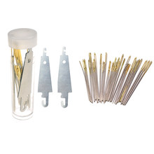30pcs 3.4cm 3.7cm 4.1cm Hand Sewing Needles Gold Eye Embroidery Cross Stitch Needles With Threaders Home DIY Sewing Accessories(China)