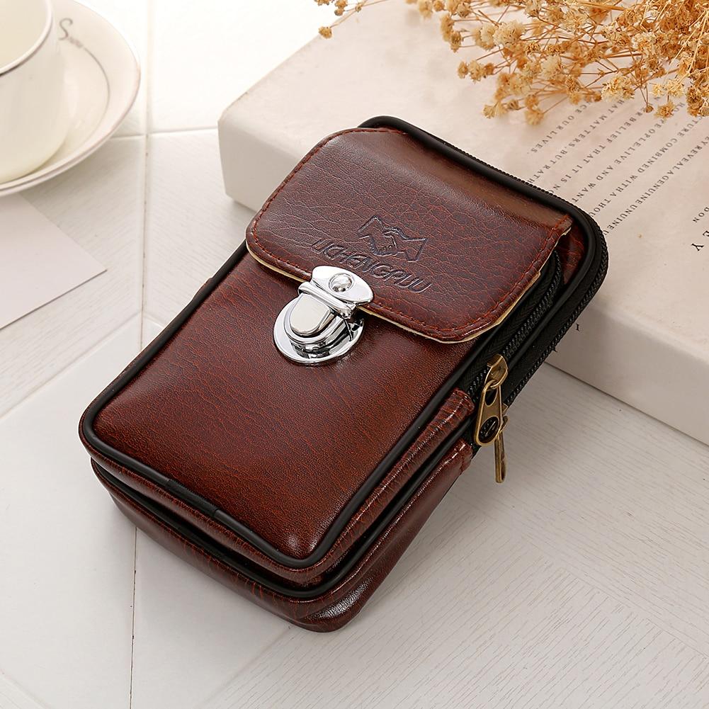 Men Vintage Faux Leather Fanny Rucksack Pack Zipper Waist Bag Belt Clip Pouch