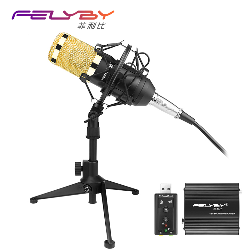 Professional Condenser Microphone BM 800 ktv Microphone Audio Studio Vocal Recording Mic Karaoke Desktop stand 48v