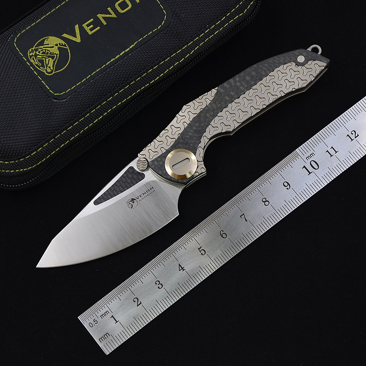 Nouveau VENIN armure Couteaux M390 Acier + CF pliage Lame de chasse de survie de poche couteau titanium et En fiber de Carbone poignée avec torix