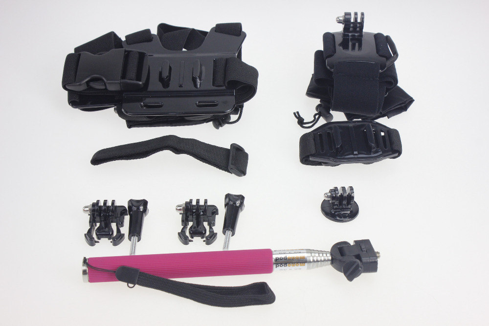F05654-C Black Chest Belt+Remote Wrist Belt+Head Strap+Helmet Strap+Bag+Handheld Monopod Mount for Gopro HD Hero3 3+ 4 sj4000