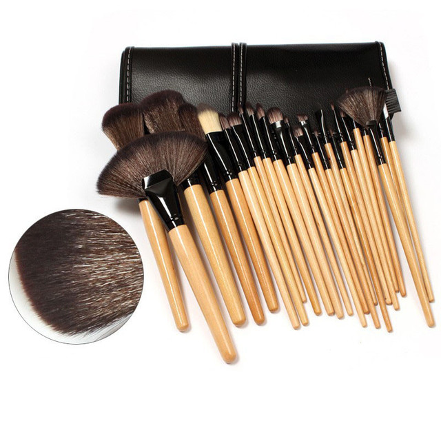 Good Quality Makeup Brushes Pro 24 PCS Wood Makeup Brushes Cosmetic Make Up  Set Kit Pouch Bag Black Cosmetic Tools for Women 27ade448d