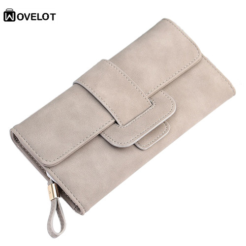 Fashion Lady <font><b>Purse</b></font> Button Handbag PU Leather Wallet Phone Cover For Under 5.5 Inch <font><b>Smartphone</b></font> Gray