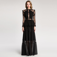2018 New Women S Deesigner Dress Vintage Lace Crochet Sexy Backless Dress Mopping Floor Perspective Black