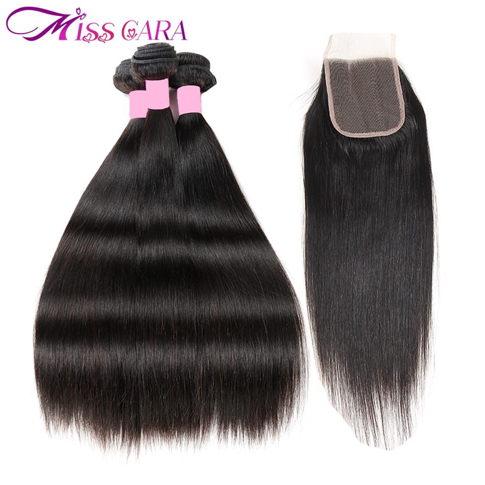 Indian Straight Hair 3/4 Bundles With Free/Middle Part Closure 100% Human Hair With Closure Miss Cara Remy Human Hair Weaves