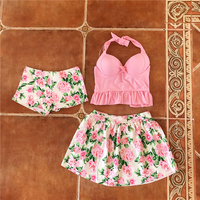 Girl Lovely Flowers Split Skirt Three Piece Swimsuit Small Chest Inserted Thin Spring Steel Support