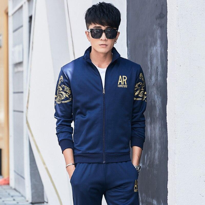 Printemps sportswear d'automne Survêtement pour Hommes Veste Zippée Pull Sweat + pantalon de Jogging décontracté Athlétique Ensemble Sport Costume